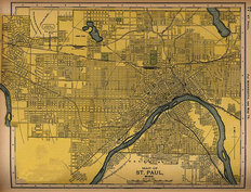 St Paul, MN 1891 Map Mural Wallpaper