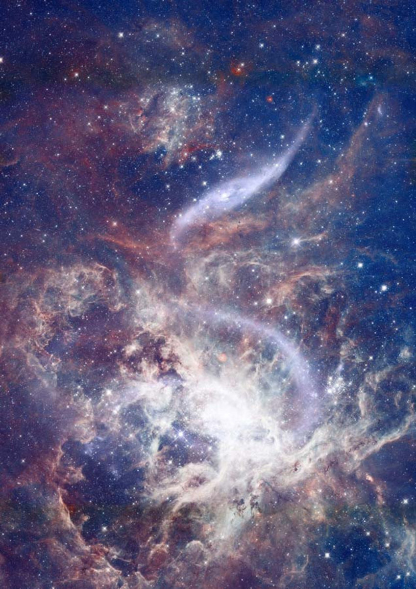 ethereal view of outer space, featuring swirling gas clouds and bright shining stars