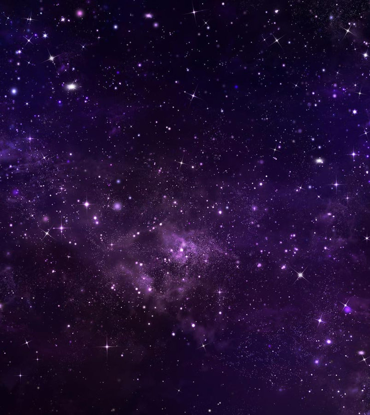 starry purple sky with billowing clouds