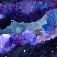 Starry Sky Watercolor Wall Mural
