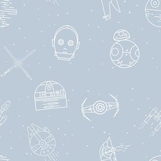 Ships And Droids Pattern Wallpaper - Light Blue