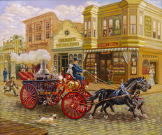 Steam Fire Engine 1902 Wallpaper Mural