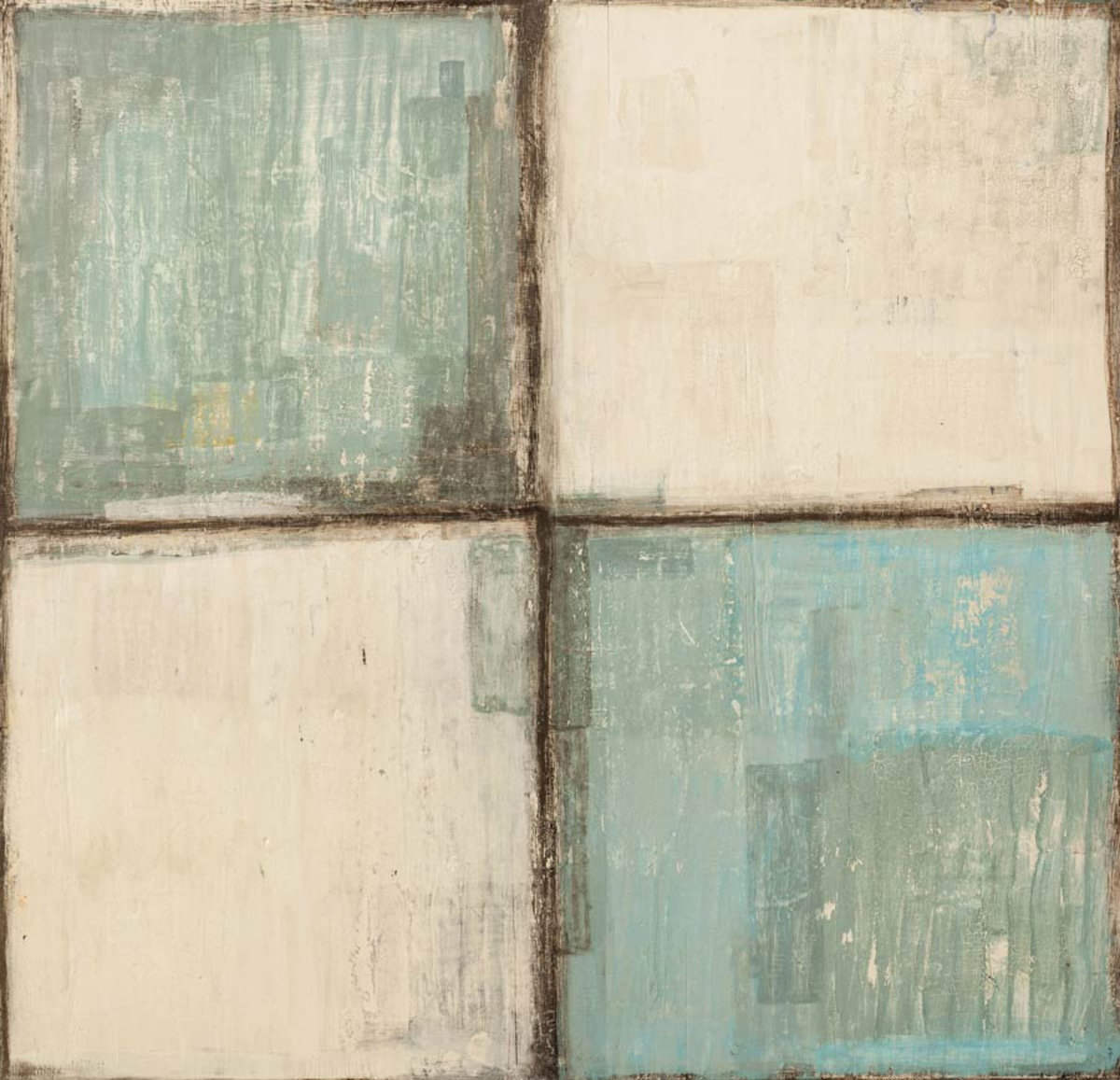 Four squares, two white and two gray-blue neatly arranged