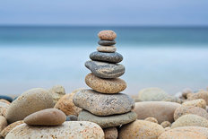 Stonewall Beach Cairn Wallpaper Mural