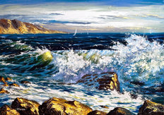 Storm Waves on Seacoast Mural Wallpaper