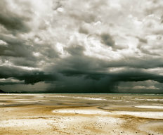 Stormy Sky And Beach At Low Tide Wall Mural