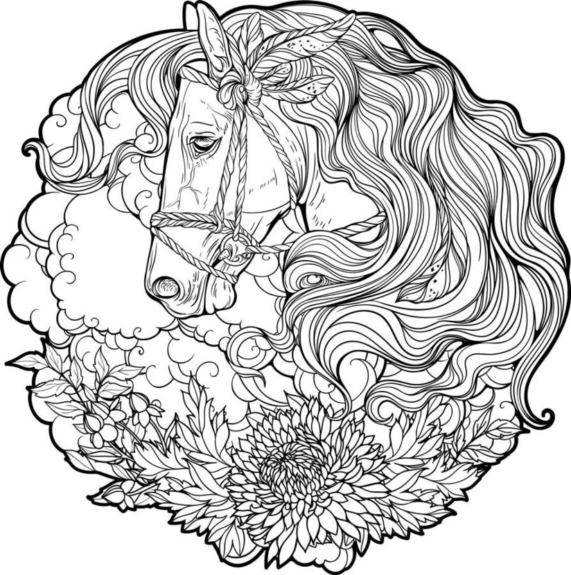 Coloring Summer Flower Horse