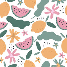 Summertime Fruit Pattern Wallpaper