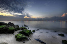 Sunrise at East Coast Park Beach Mural Wallpaper