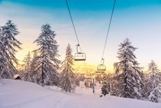 Sunrise Over Winter Ski Lifts Wall Mural