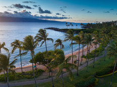Sunset Aerial of Kapalua Beach, Maui, Hawaii, USA Wall Mural
