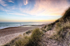 Sunset And Sand Dunes of Hengistbury Head Beach Wall Mural