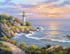 Sunset at Lighthouse Point Wall Mural