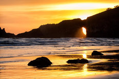 Sunset at Second Beach, Olympic National Park Wall Mural