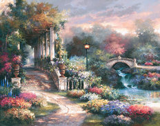 Sunset Garden Retreat Mural Wallpaper