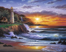Sunset Lighthouse Wallpaper Mural