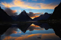 Sunset - Mitre Peak, New Zealand Mural Wallpaper