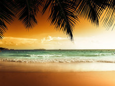 Sunset On Caribbean Beach Mural Wallpaper
