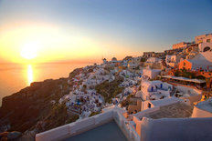 Sunset on Santorini Island, Greece Mural Wallpaper