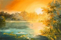 Sunset On The Lake Oil Painting Wallpaper Mural