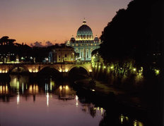 Sunset On The Tiber River Wall Mural