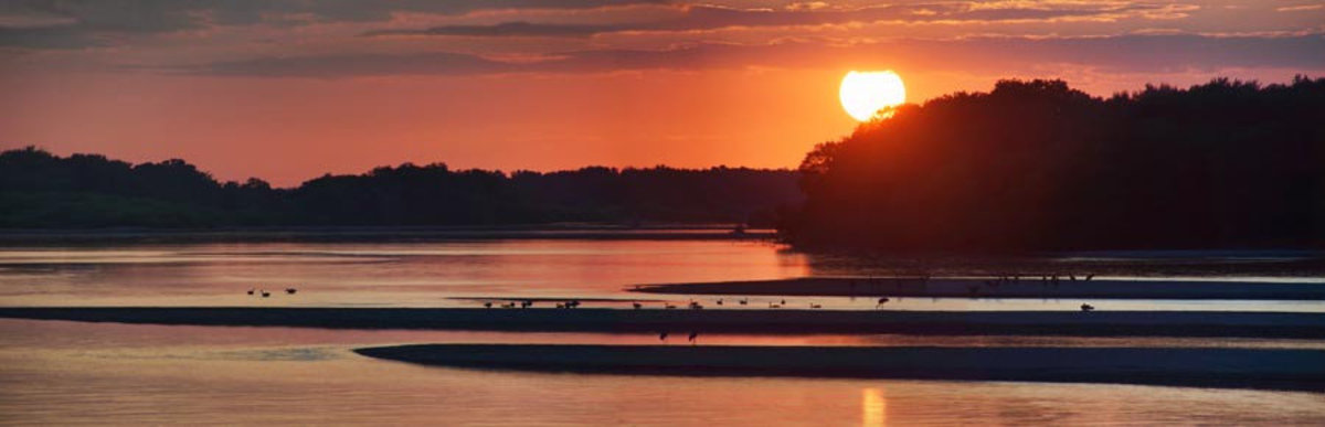 Sunset on the WI River Mural Wallpaper