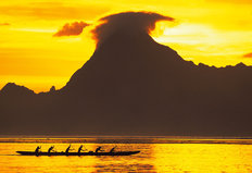 Sunset Over Moorea, French Polynesia 3 Wallpaper Mural