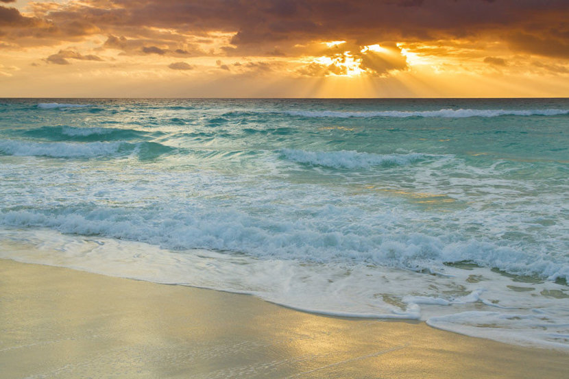 Waves Upon the Sunset Shore Mural Wallpaper
