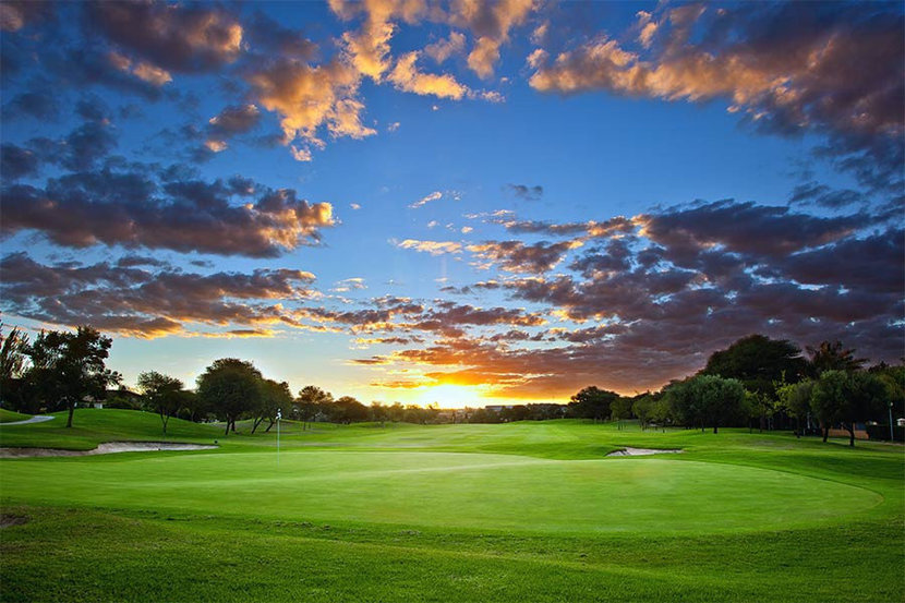 Sunset Over Golf Course Wall Mural