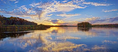 Wisconsin River Sunset Serenade Wallpaper Mural