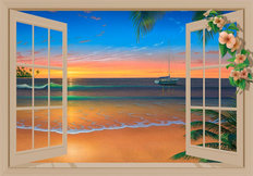 Sunset Through Window with Flowers Wall Mural