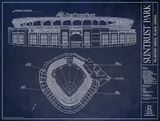 SunTrust Park Blueprint Wallpaper Mural