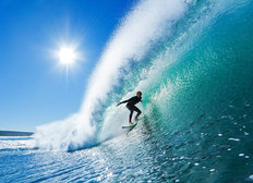 Surfer On Ocean Wave Wallpaper Mural