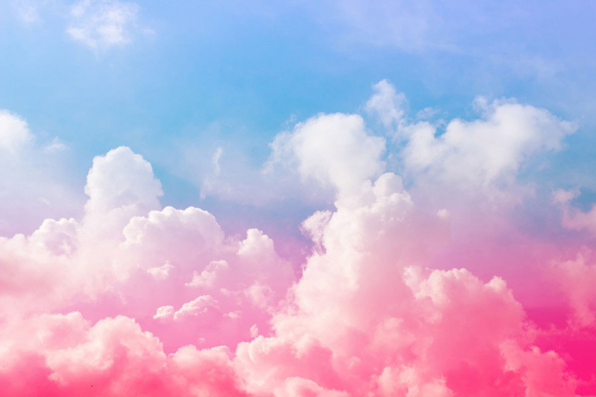 Sweet Dreams features heavenly clouds in an array of pink and blue hues