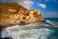 Swirling Ocean in The Cinque Terre Wall Mural