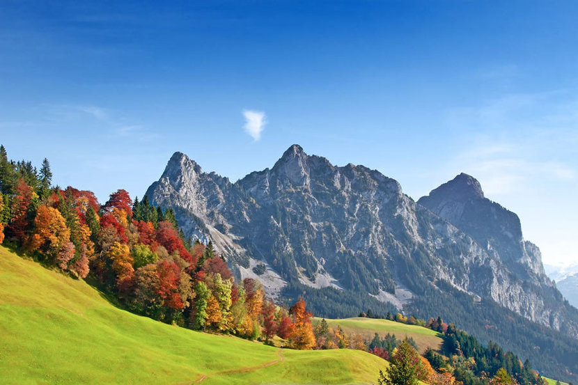 View of the Swiss Alps on a sunny autumn day