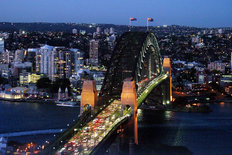 Sydney Harbor Bridge At Night Mural Wallpaper