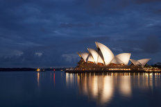 Sydney Opera House On A Cloudy Dawn Mural Wallpaper