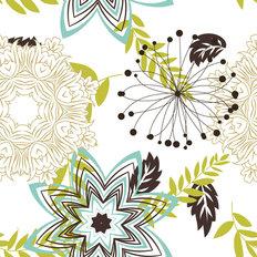 Teal And Lime Flower Pattern Wallpaper