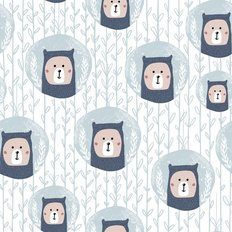 Teddy Bear Cameo Pattern Wallpaper