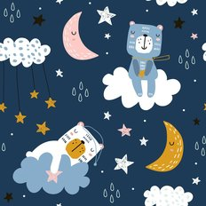 Teddy Bears Under the Stars Pattern Wallpaper