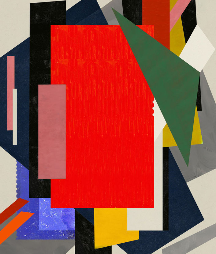 bold geometric shapes of varying sizes and colors