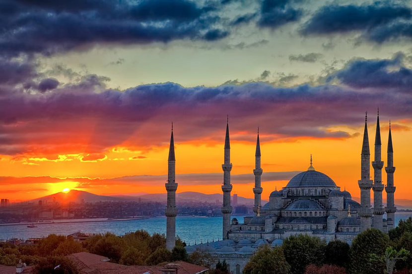 The Blue Mosque at Sunrise, Istanbul, Turkey  Wall Mural