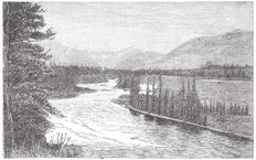The Bow River near Padmore, Vintage Engraved Illustration Wall Mural