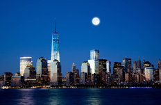 The Freedom Tower At Night Mural Wallpaper