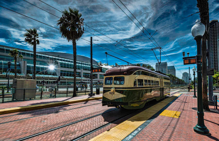 The old trolley car in San Diego Wall Mural