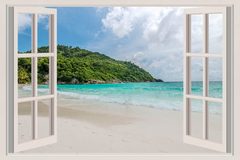 The Open Window With Sea Views Mural Wallpaper