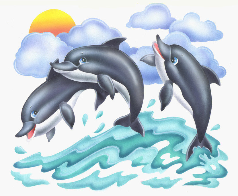 Three Dolphins Wallpaper Mural