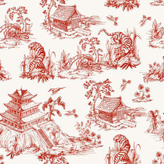 Tiger Pagoda Pattern Wallpaper