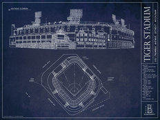 Old Tiger Stadium Blueprint Wall Mural